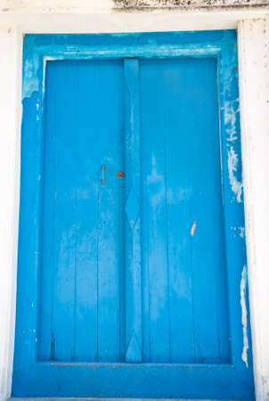 Old  blue wood door photo