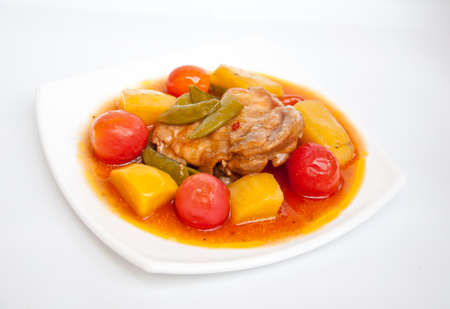 chicken stew for healthy food on white background Stock Photo - 13694364