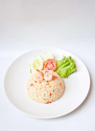fried rice with shrimp on white background photo