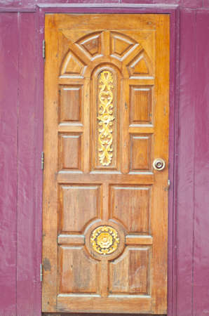 violet residential: door from wood for home Stock Photo