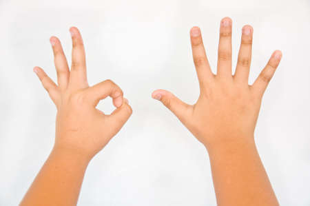 finger from children hand on white background photo