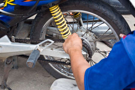 hand for fix motorcycle