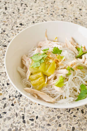 delicious Thai food call KUAY TEAW from noodle and chicken with soup