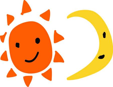 happy sun and moon Stock Photo
