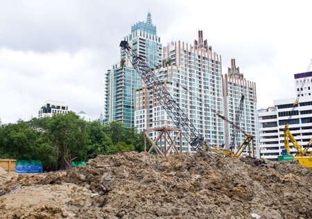 constrution: crane for constrution with modern building background