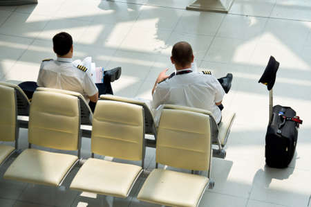 Bangkok-Thailand, October 11 unidentified pilot rest waiting for flight transportation in airport Bangkok October 11 in Bangkok Thailand Editorial
