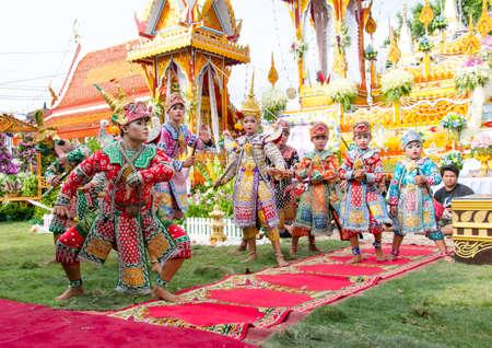 BANGKOK THAILAND - JUNE 16  Unidentified actors performs Thailand Dancing art called  Khon , an high-class of historic dance, on June 16, 2014 in BANGKOK, Thailand