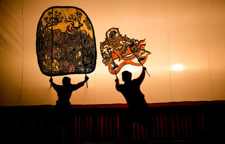 shadow puppet: high performance of large shadow call Nang Yai in Ratchaburi province Thailand Stock Photo