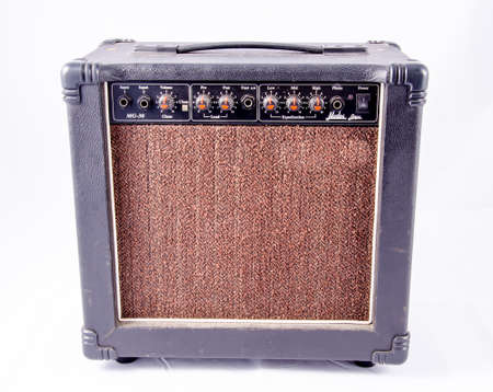 guitar amplifier on white background photo