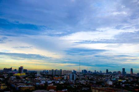 bird eye view of Bangkok city before night