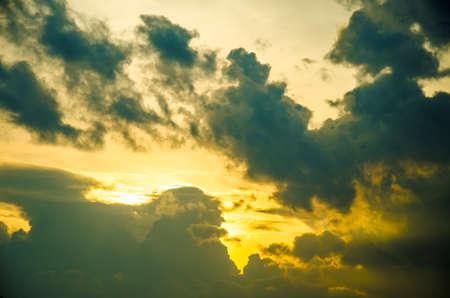 sundown with storm cloud Stock Photo