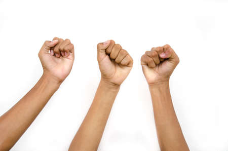 hand and fist from children for victory  on white background