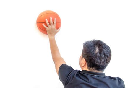 hand for play basketball on white background