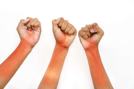 hand from children for victory on white background