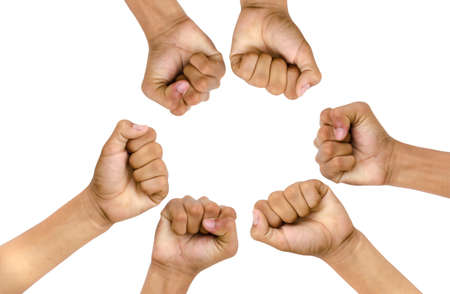 hand of children for victory on white background Stock Photo