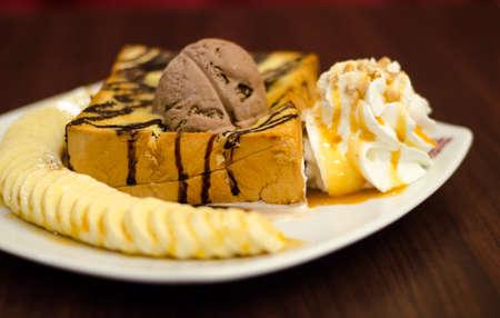 honey toast with banana and coffee