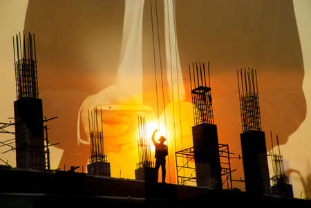 recieve: silhouette of man working for building to recieve message from business man background Stock Photo