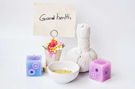 good health by natural product on white background concept