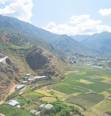 bird eye view of Bhutan landscape