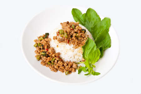 moo: Thai food call KHAO PUD KRAPAO MOO on white background
