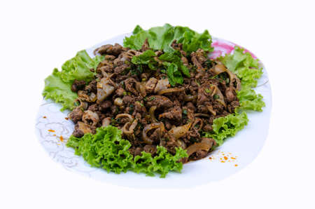 carne picada: delicious Thai food call LARB NEUA from meat  with herbal spicyingredient and vegetable on white background
