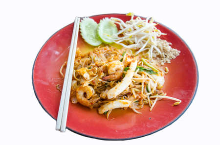 Thai food call PUDTHAI famous food on white background Stock Photo