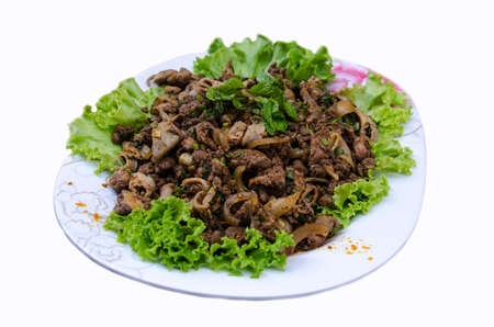 delicious Thai food call LARB NEUA from meat  with herbal spicyingredient and vegetable on white background