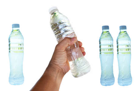 hand for bottle of water on white background