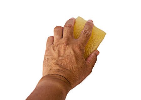 hand for clean with sponge on white background