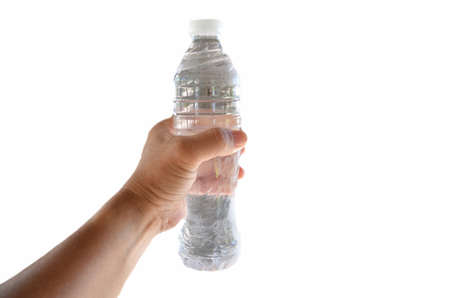 hand for drinking water on white background