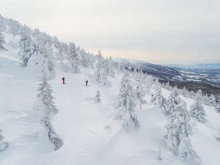 skiing on  snow monster hill northeast of Japan