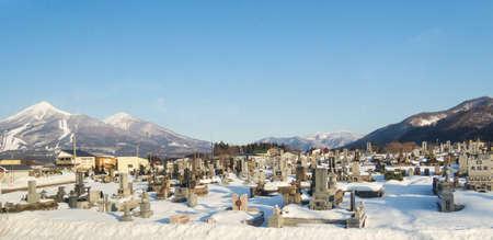 Japan  january 21-2018 Tsunami cemetary in Fukushima Japan wit panorama view Editorial