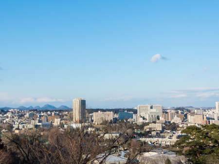 Japan city scape with blue sky  from mountain