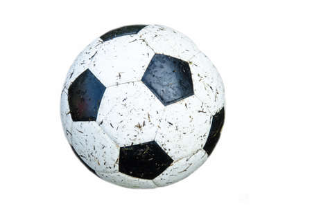 dirty soccer on white background for play in rainy season