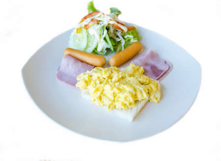 ham and egg  sausage for breakfast meal on white background Stock Photo
