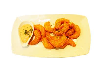fried shrimp on white background
