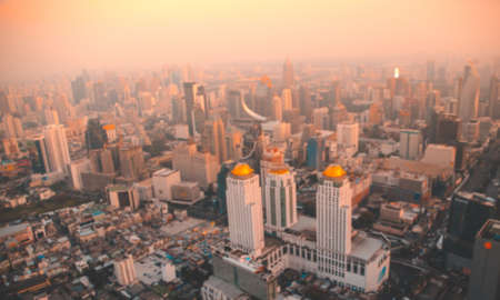 bird eye view of Bangkok city from tower with blur Stock Photo