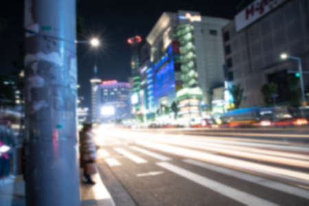 blur of traffic in Seoul  Korea