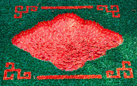 red flamingo flower for decoration in the temple