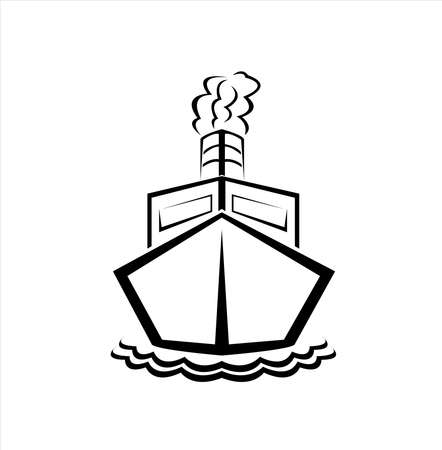 ship cruise logo of cargo tourism and sail vacation with boat vector for company and business Vettoriali