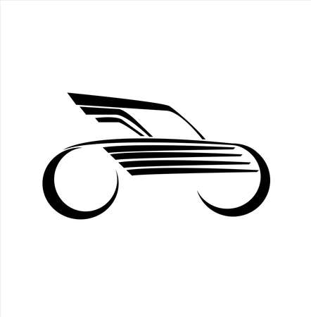 car race logo with fast futuristic rally and horizontal motion of vehicle for racing championship Vettoriali