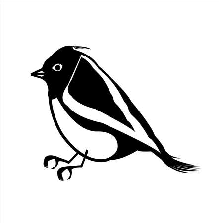 animal logo of canary bird vector with small exotic beak and silhouette of tropical pigeon Vettoriali