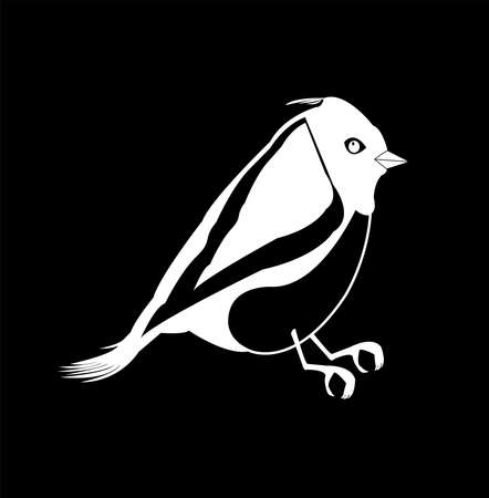 animal logo of canary bird vector with small exotic beak and silhouette of tropical pigeon