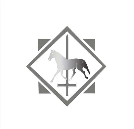 animal vector of horse logo with stallion badge of kingdom sword and silhouette design Illustration