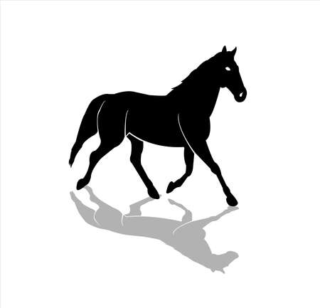 animal vector of horse logo with stallion badge and silhouette design of steed mascot