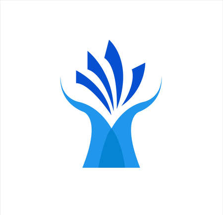 company logo of tree design with medical education and health business for herbal technology Vettoriali