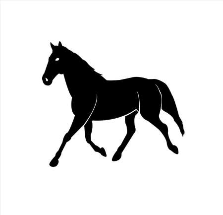 vecteur animal du logo du cheval avec insigne d'étalon et conception de la silhouette de la mascotte des coursiers