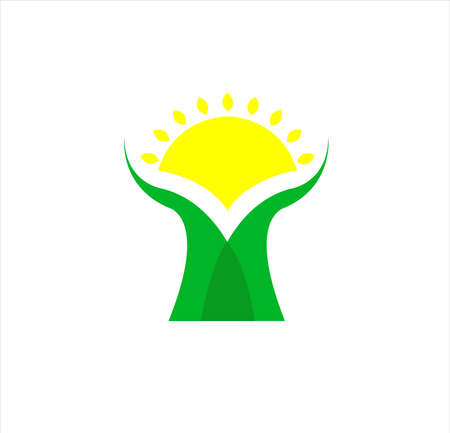 company logo of tree design with bright sun for medical education and retail business of product and supply