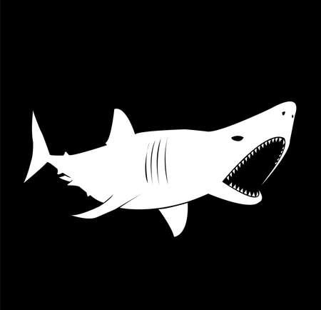 shark logo of ocean animal with fin and beast fish teeth