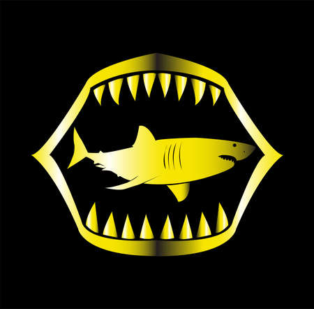 shark logo of ocean animal with fin and beast fish teeth